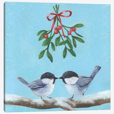 Chickadee Christmas Collection A Canvas Print #POP1620} by Grace Popp Canvas Art Print