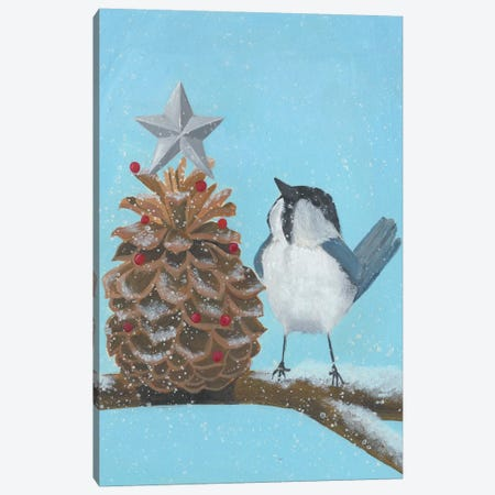 Chickadee Christmas Collection D Canvas Print #POP1622} by Grace Popp Canvas Print