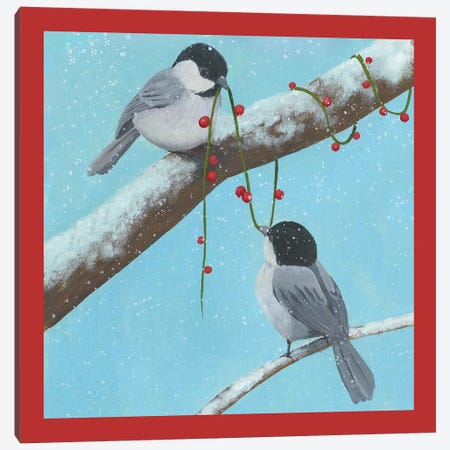 Chickadee Christmas Collection J Canvas Print #POP1627} by Grace Popp Canvas Artwork