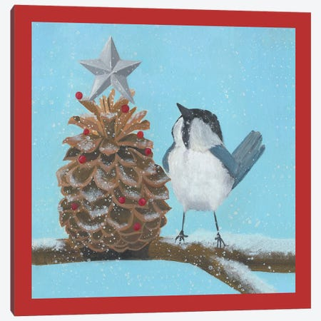Chickadee Christmas Collection L Canvas Print #POP1629} by Grace Popp Canvas Print