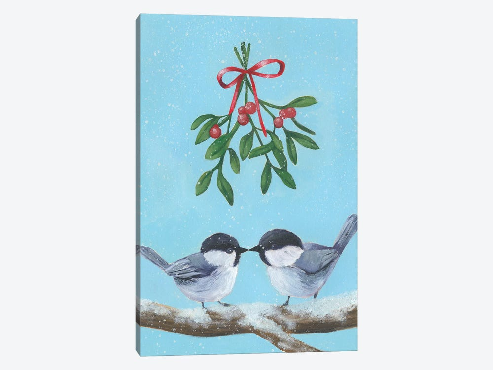 Chickadee Christmas I 2-Up by Grace Popp 1-piece Canvas Wall Art