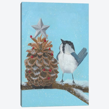 Chickadee Christmas II 2-Up Canvas Print #POP1631} by Grace Popp Canvas Art