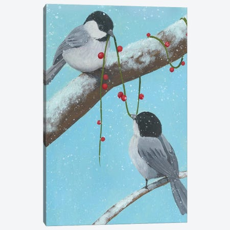 Chickadee Christmas IV 2-Up 3-Piece Canvas #POP1633} by Grace Popp Canvas Artwork