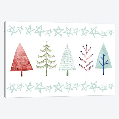 Christmas Tree Whimsy Collection C Canvas Print #POP1657} by Grace Popp Canvas Art Print