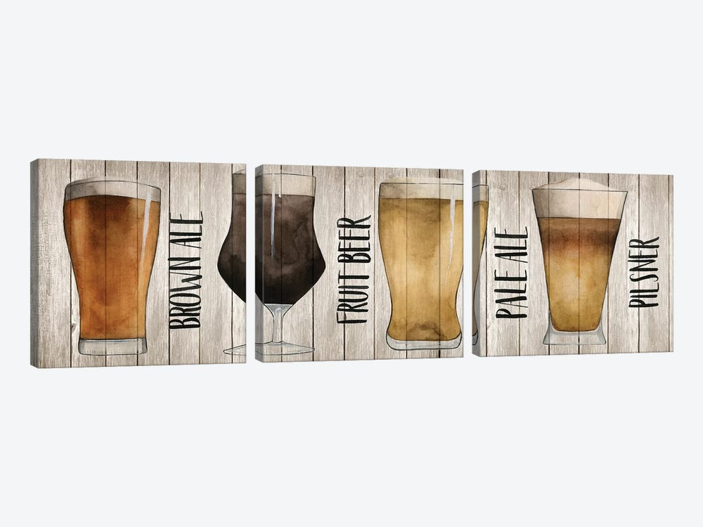 Beer Chart I by Grace Popp 3-piece Canvas Wall Art