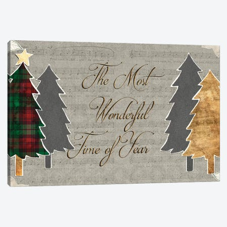 Collaged Christmas Collection A Canvas Print #POP1671} by Grace Popp Canvas Artwork