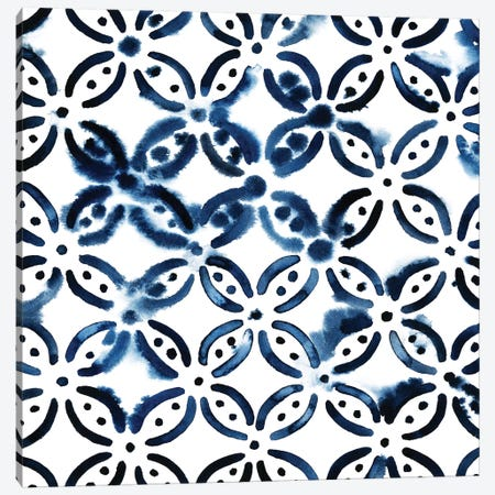 Cobalt Watercolor Tiles I Canvas Print #POP169} by Grace Popp Canvas Print