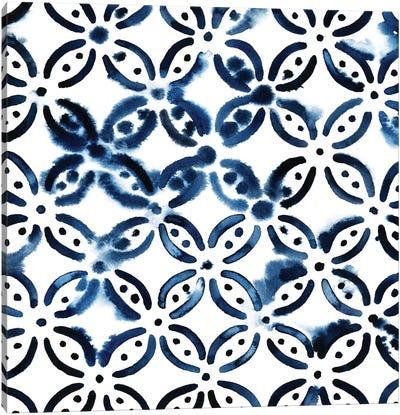 Cobalt Watercolor Tiles I Canvas Art Print