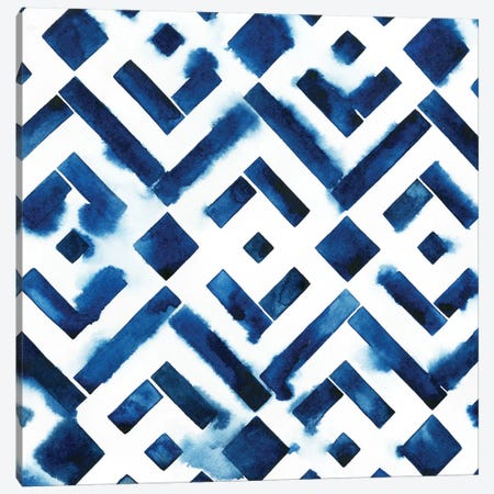 Cobalt Watercolor Tiles II Canvas Print #POP170} by Grace Popp Canvas Wall Art