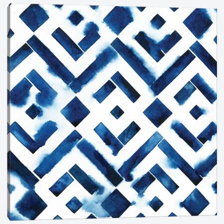 Cobalt Watercolor Tiles II Canvas Print #POP170} by Grace Popp Canvas Wall Art