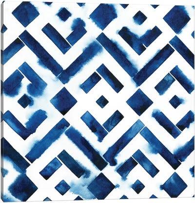 Cobalt Watercolor Tiles II Canvas Art Print