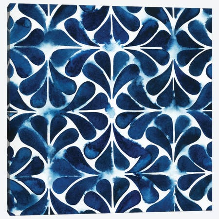 Cobalt Watercolor Tiles III Canvas Print #POP171} by Grace Popp Canvas Artwork