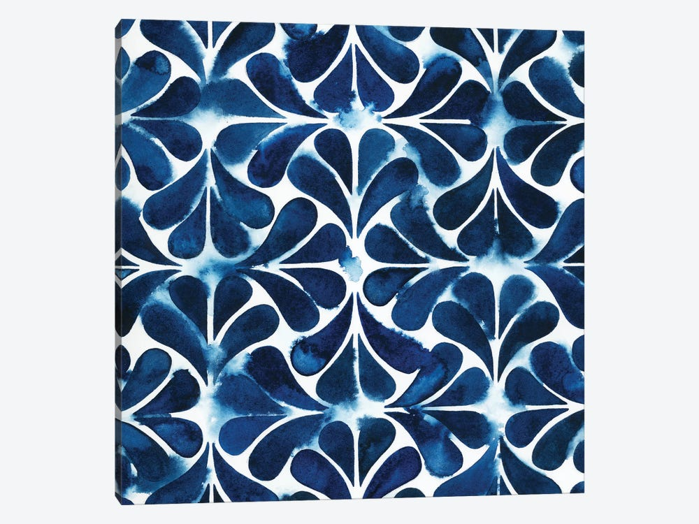 Cobalt Watercolor Tiles III by Grace Popp 1-piece Art Print