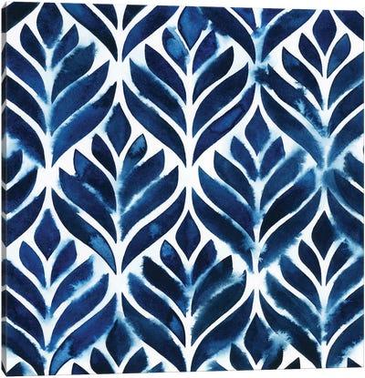 Cobalt Watercolor Tiles IV Canvas Art Print