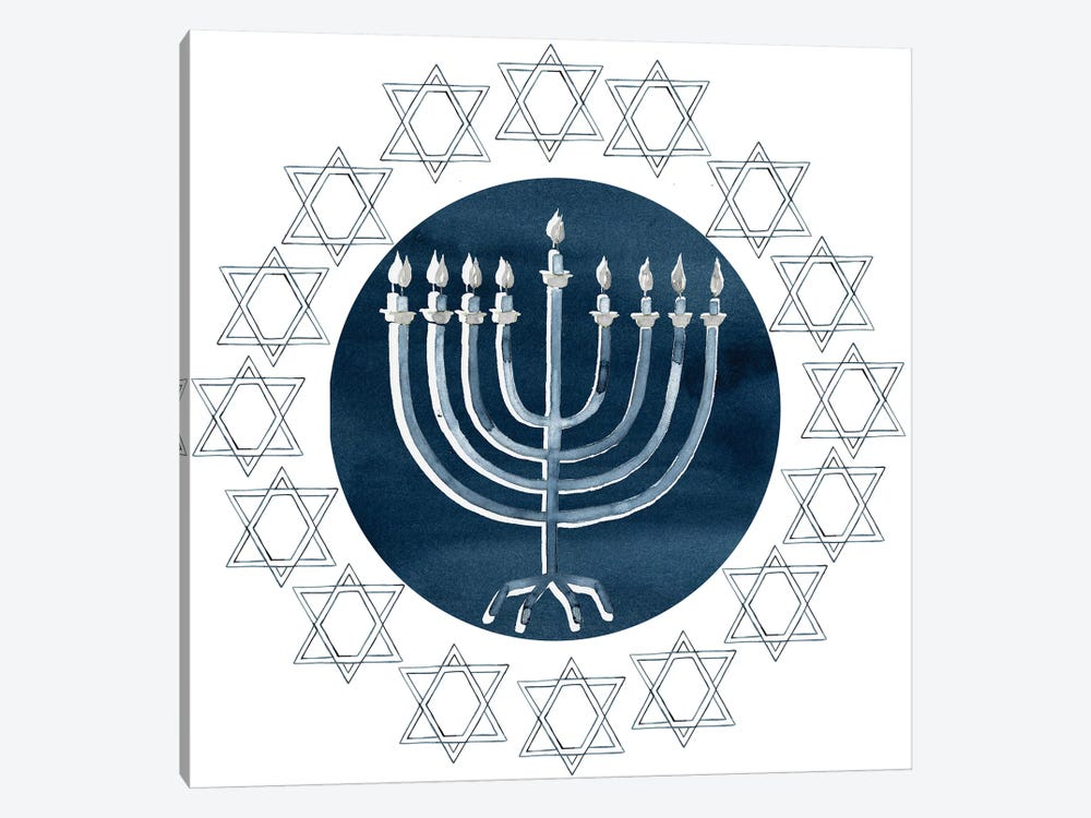 Happy Hanukkah Collection F by Grace Popp 1-piece Canvas Art Print