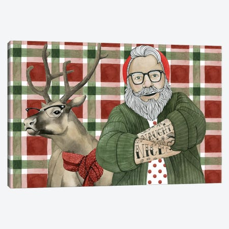 Hipster Santa Collection A Canvas Print #POP1742} by Grace Popp Canvas Wall Art