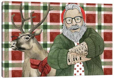 Hipster Santa Collection A Canvas Art Print