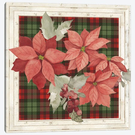 Plaid & Poinsettias Collection B Canvas Print #POP1766} by Grace Popp Art Print