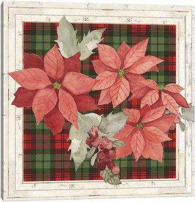 Plaid & Poinsettias Collection B Canvas Art Print