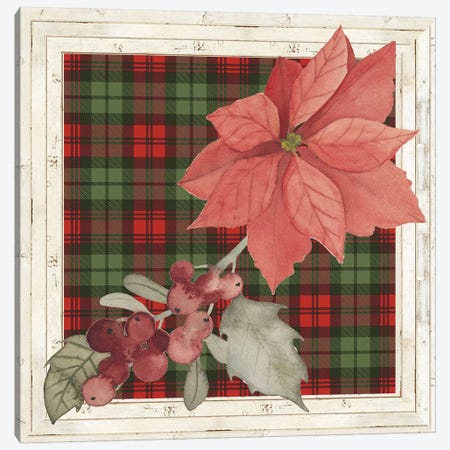 Plaid & Poinsettias Collection C Canvas Print #POP1767} by Grace Popp Canvas Print