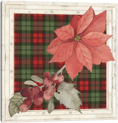 Plaid & Poinsettias Collection C Canvas Art Print