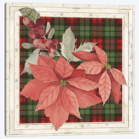 Plaid & Poinsettias Collection D 3-Piece Canvas #POP1768} by Grace Popp Canvas Wall Art