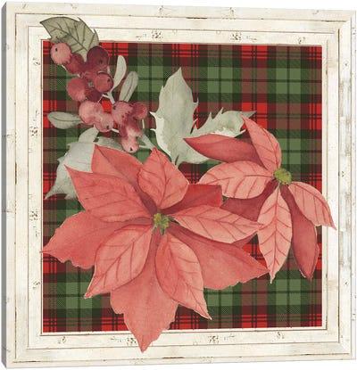Plaid & Poinsettias Collection D Canvas Art Print