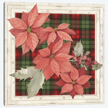 Plaid & Poinsettias Collection E 3-Piece Canvas #POP1769} by Grace Popp Canvas Wall Art