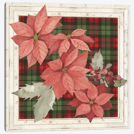 Plaid & Poinsettias Collection E Canvas Print #POP1769} by Grace Popp Canvas Wall Art