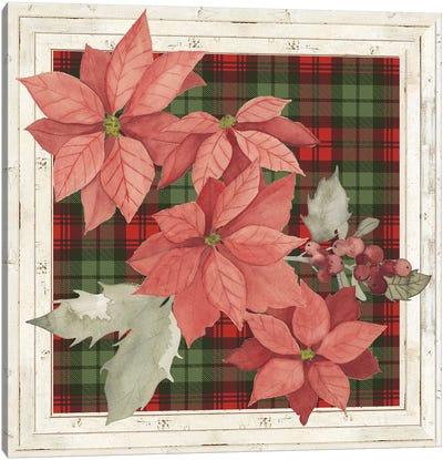 Plaid & Poinsettias Collection E Canvas Art Print