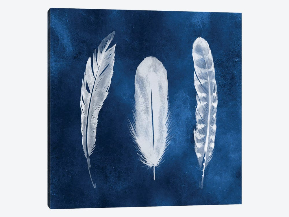 Cyanotype Feathers I 1-piece Canvas Print