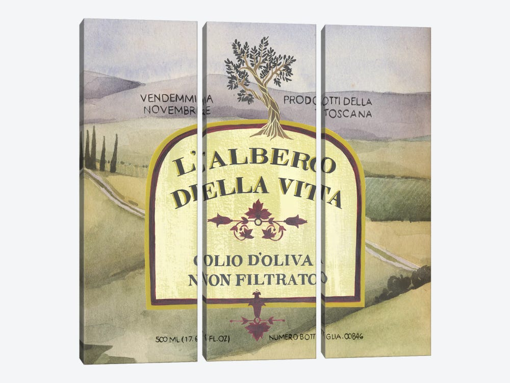 Olive Oil Labels IV by Grace Popp 3-piece Canvas Art