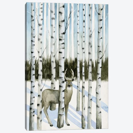Deer In Snowfall I Canvas Print #POP187} by Grace Popp Canvas Wall Art