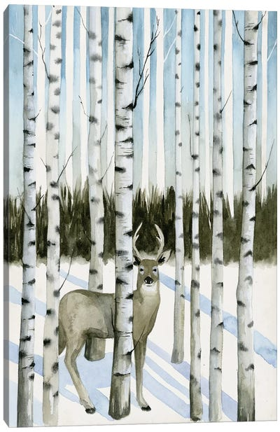 Deer In Snowfall I Canvas Art Print