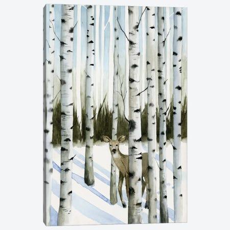 Deer In Snowfall II Canvas Print #POP188} by Grace Popp Canvas Art Print