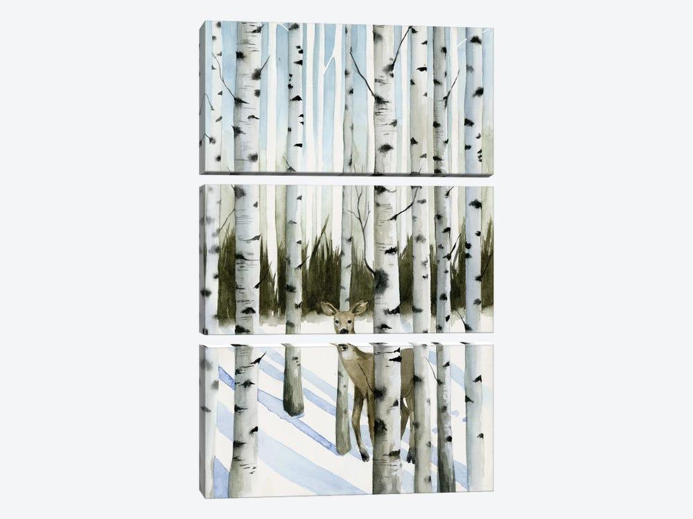 Deer In Snowfall II by Grace Popp 3-piece Canvas Art Print