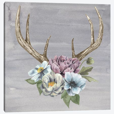 Antlers & Flowers II Canvas Print #POP1} by Grace Popp Canvas Artwork