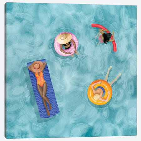 Poolside I Canvas Print #POP2024} by Grace Popp Canvas Wall Art
