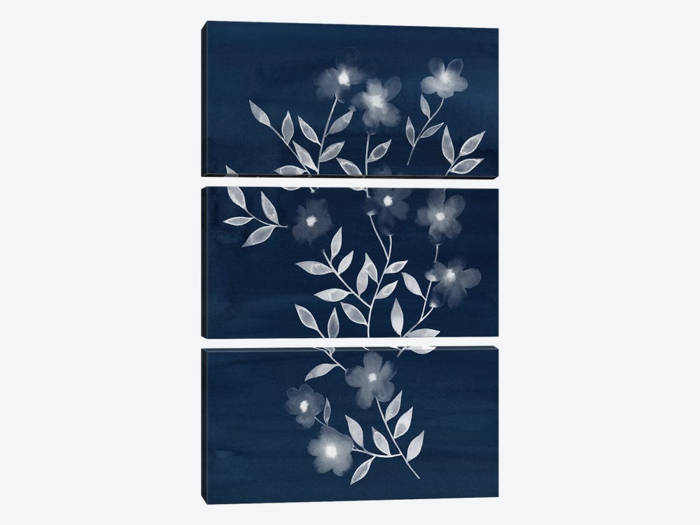 Flower Cyanotype I by Grace Popp 3-piece Canvas Wall Art