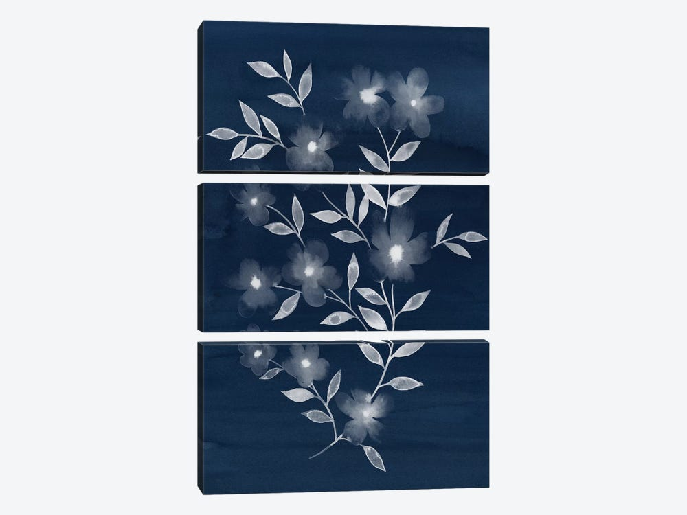 Flower Cyanotype II by Grace Popp 3-piece Canvas Print