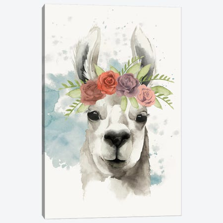 Llama Flora I Canvas Print #POP233} by Grace Popp Canvas Print