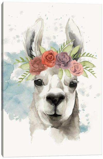 Llama Flora I Canvas Print #POP233