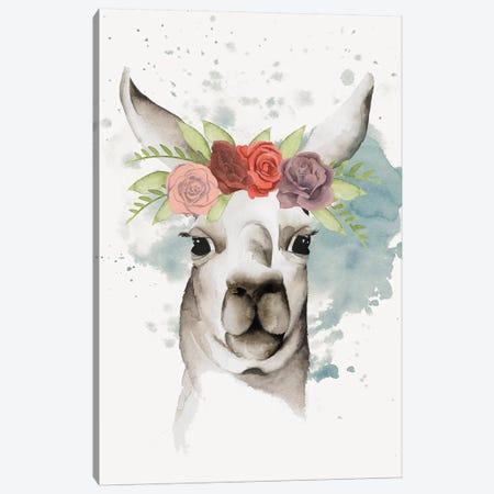 Llama Flora II Canvas Print #POP234} by Grace Popp Canvas Artwork