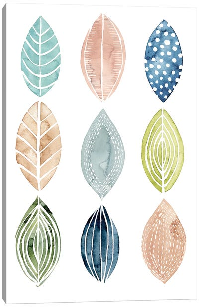 Patterned Leaves II Canvas Art Print