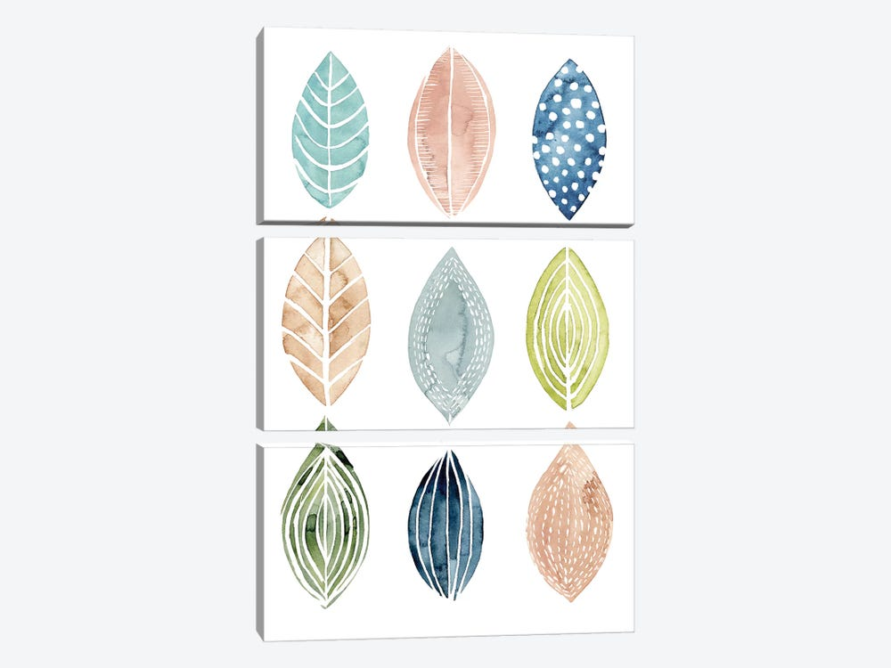 Patterned Leaves II 3-piece Canvas Wall Art
