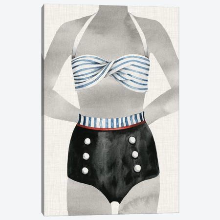 Vintage Bathing Suit I Canvas Print #POP276} by Grace Popp Canvas Wall Art