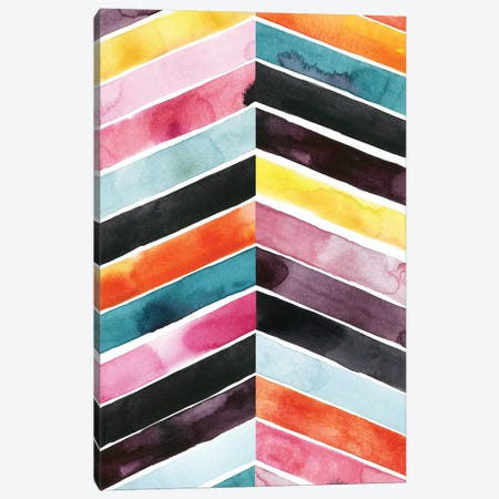 Vivid Watercolor Chevron I Canvas Print #POP282} by Grace Popp Canvas Art
