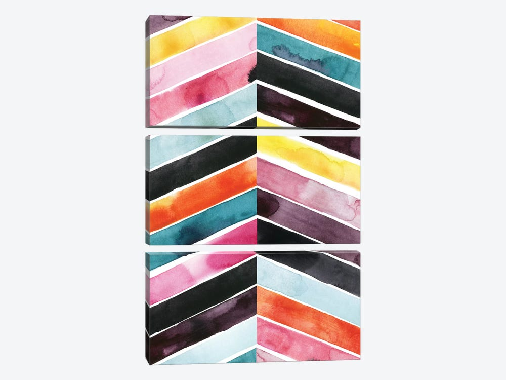 Vivid Watercolor Chevron I by Grace Popp 3-piece Art Print