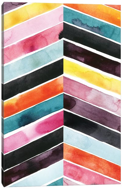Vivid Watercolor Chevron I Canvas Art Print