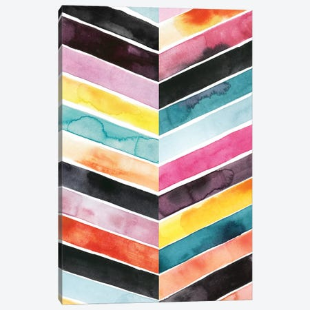 Vivid Watercolor Chevron II Canvas Print #POP283} by Grace Popp Canvas Art